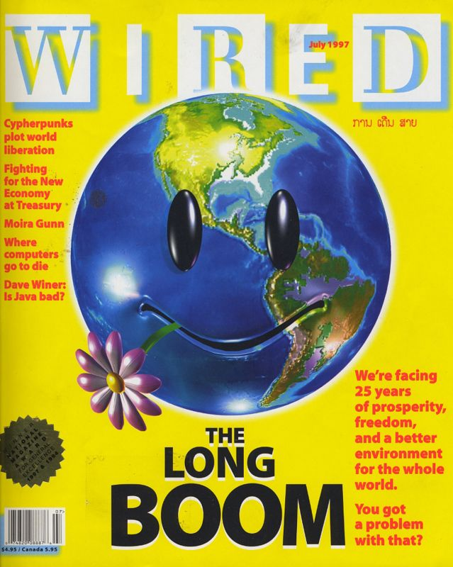 The famous Wired magazine cover and issue from July 1997 with the title The Long Boom