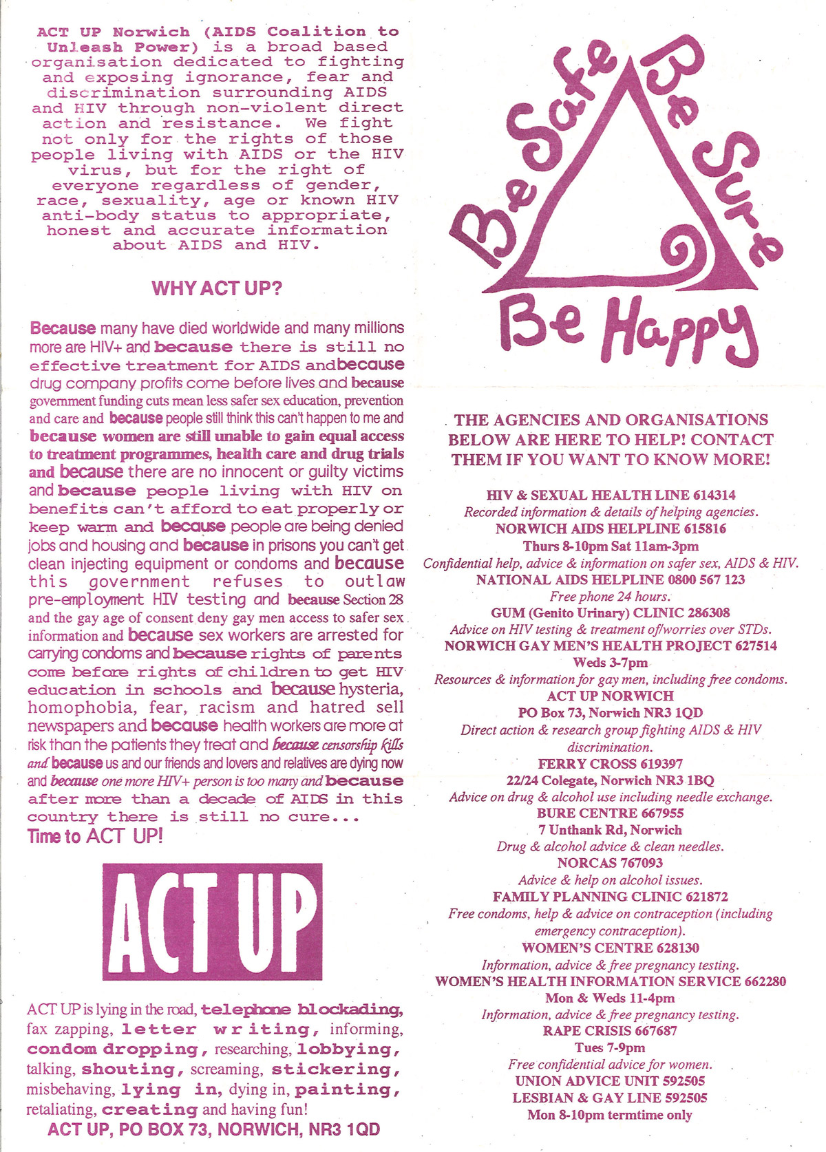 Act Up Norwich, Be Safe, Be Sure, Be Happy, early 1990s: Leaflet. © Act Up Norwich.