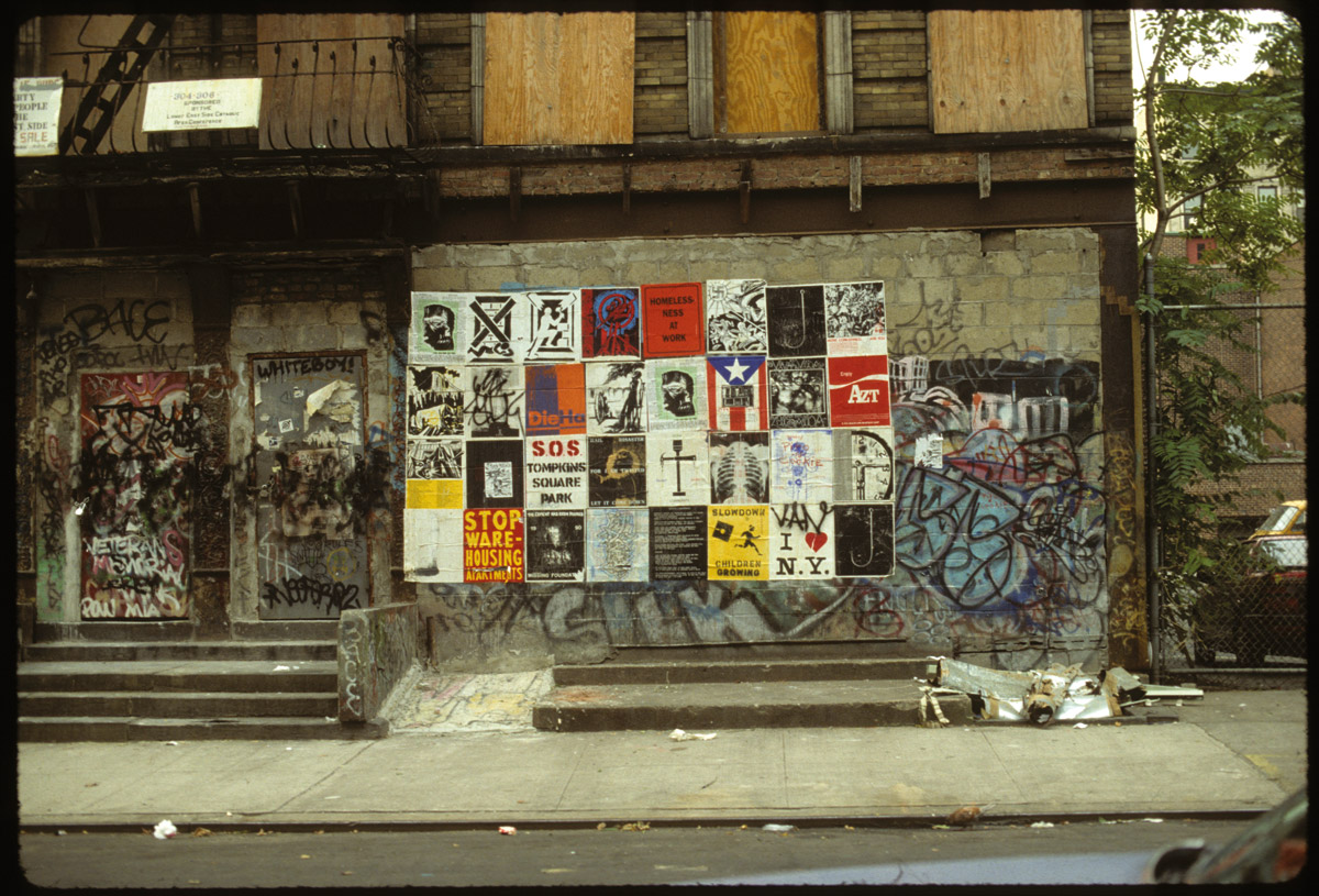 fig 2. Your House Is Mine poster and book project, on 8th St. Between Ave B and C, 1992. Photo by: Andrew Castrucci. Published by bullet space,1988-92.