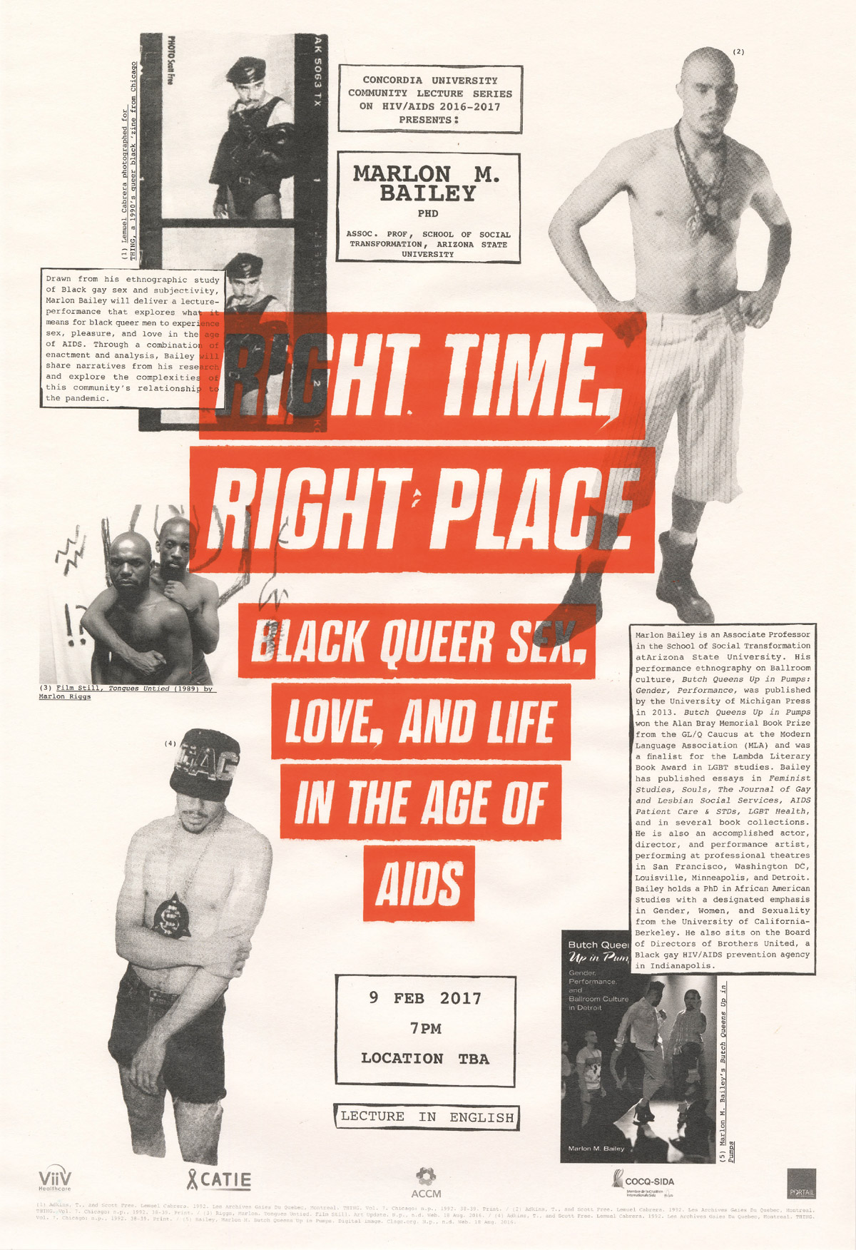 Lucas Larochelle for the Concordia Community HIV/AIDS Lecture Series (2016-2018), Right Time, Right Place, 2017. Digital Poster. Courtesy of the Concordia Community HIV/AIDS Lecture Series.