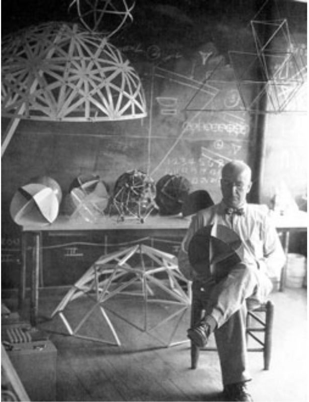 Buckminster Fuller at Black Mountain College with models of geodesic domes, 1949